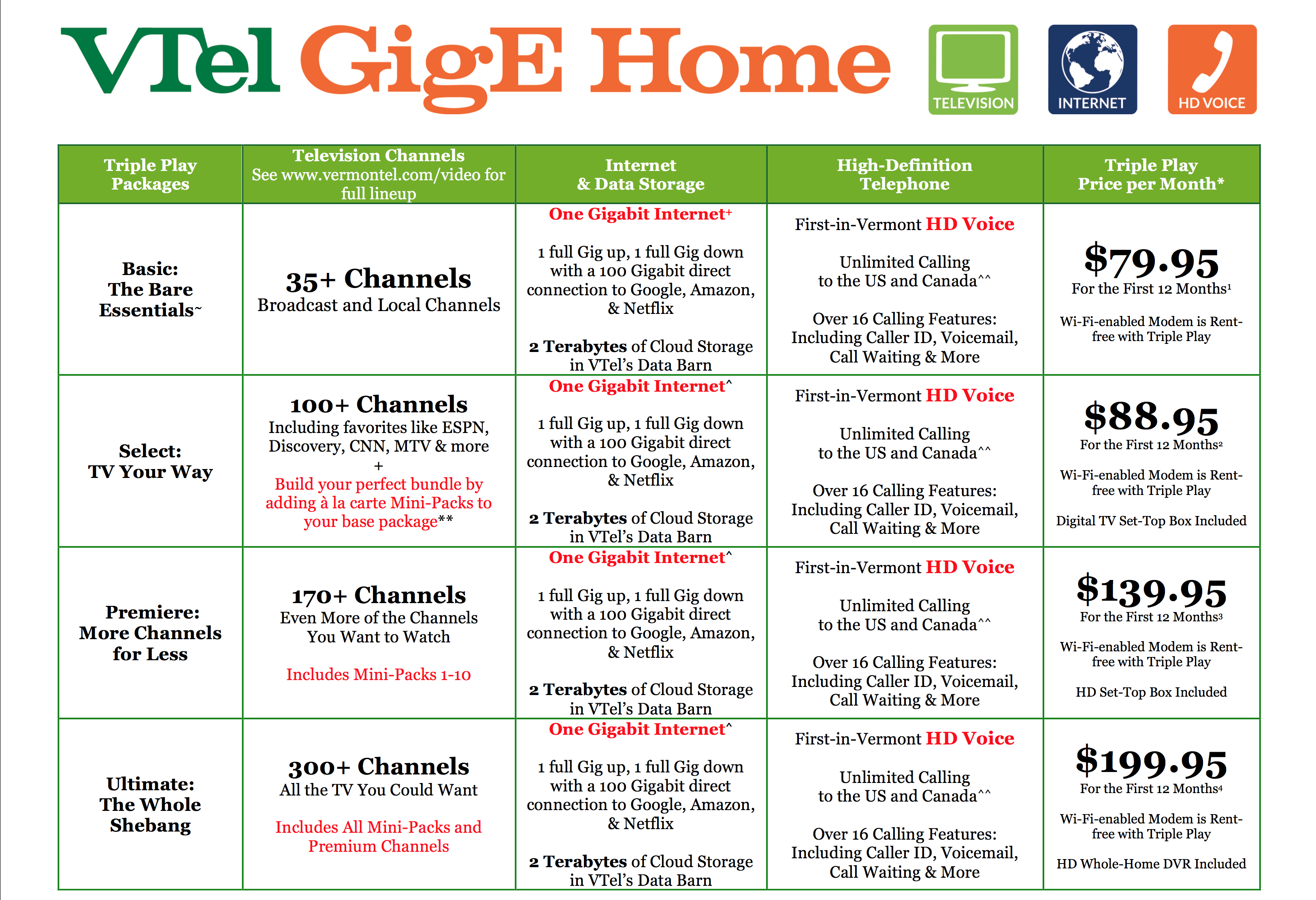 VTel GigE Home Triple Play Packages and Pricing
